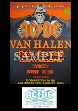 AC/DC Monsters Of Rock concert poster + ticket Donington Park UK 1984 A3 Repro