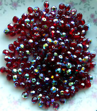 #A49A Vintage Glass Beads AB Siam Ruby 6mm NOS Faceted Red Iridescent Gorgeous