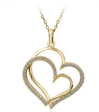 Shiny Yellow Gold Rhinestones Love Two Hearts Pendant Necklace N364