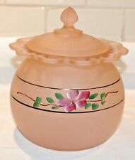 Frosted Pink Depression Glass Cookie Jar - Hocking Old Colony - Hand Painted