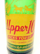 vintage ACL Soda Pop Bottle:   green UPPER 10 from RC COLA  - 10 oz ACL Soda