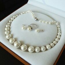 8mm-16mm white south sea shell pearl luxury necklace ring and earring Set