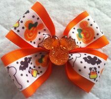 "Girls Hair Bow 4"" Wide Halloween Orange Minnie Flatback French Barrette"