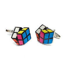 Puzzle Cube Cufflinks & Gift Pouch Rubiks Cube