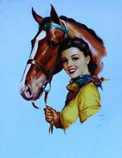Cowgirl with Horse by J Erbit vintage art