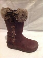 Girls Clarks Brown Leather Boots Size 7.5G