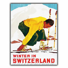 Switzerland Skiing METAL SIGN PLAQUE Vintage Retro Travel Holiday Advert poster