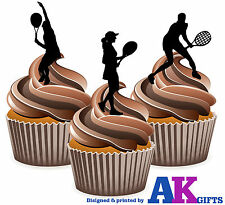 12 x Tennis Edible Cup Cake Toppers Silhouette Female Tennis Players Ladies Mix