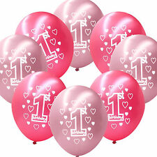 """10 Pink Girl's 1st Birthday Party Decoration Printed 11"""" Latex Balloons"""