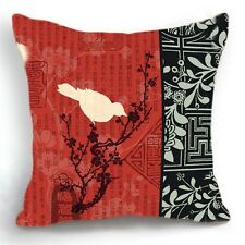 Oriental Chinese Design 18'' Red Cushion Cover Pillow Case Bird Home Decor
