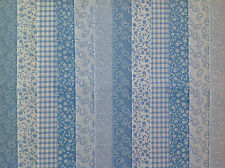 24 JELLY ROLL STRIPS 100% COTTON PATCHWORK FABRIC BLUE 22 INCH LONG