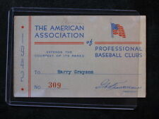 Vintage 1942 American Associaion of Professional Baseball Clubs Parks Pass