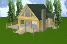 24x28 Cabin w/Loft & Basement Plans Package, Blueprints, Material List