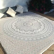 Queen Size Silver Ombre Indian Mandala Tapestry Bohemian Hippie Bedspread Décor