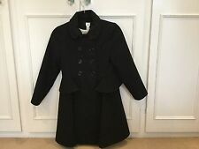 Beautiful Military Style Peplum Girls Black  Winter Coat Aged 11-12 By Monsoon