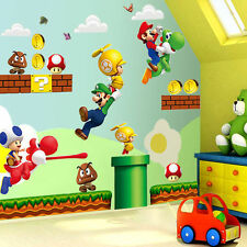 Super Mario Bros Wall Mural Decals Stickers Cartoon Removable Vinyl Luzh Decors