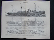 Old Meyers Lexikon Original Lithografie 1896 Steamboat/Dampfschiff I/II