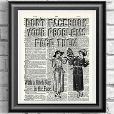 VINTAGE VICTORIAN LADY FACEBOOK PROBLEMS Dictionary Page Wall Art Picture