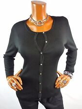 BANANA REPUBLIC Womens Top L NEW 2pc Set 100% SILK Black Cardigan & Tank Shirt