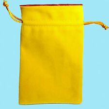 GOLD VELVET with LUXURY SATIN RED Lining DICE BAG NEW 4x6 Storage Pouch MDG Silk