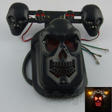 Black Motorcycle Skull Turn Signal Rear Brake Tail Light For Harley Honda