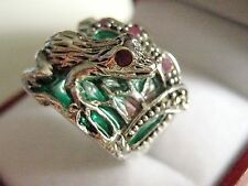 Sterling SILVER Art Nouveau francese ispirato Stained Glass Rubino FROG RING o 1/2 7 1/4