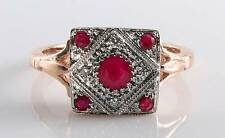 CLASS 9CT 9K ROSE GOLD INDAIN RUBY  DIAMOND ART DECO INS RING FREE RESIZE