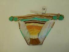 Radio Fiji Womens Size Medium Striped Gem Sides Bikini Bottom New