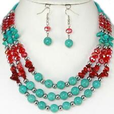 Turquoise Red Silver Earrings Necklace Jewelry Set Crystal Shell Acrylic