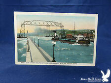 Color Litho PC Whale-Back Ore Boat Duluth Minn Harbor Ship Canal