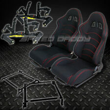 2X T-F1 BLACK WOVEN RACING SEATS+BRACKETS+4-PT BLACK SEAT BELTS CIVIC/DEL SOL/DC