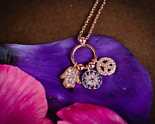 Rose Gold Hamsa Peace Sign Tri Charm Three Charm Blue CZ Pave Rhinestone