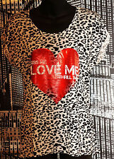 "New-Red Heart ""Kiss Me Love Me Thrill Me""  T Shirt-Black & White Animal Print-12"