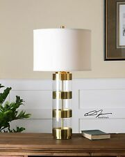 """NEW 31"""" LARGE BRUSHED BRASS & ACRYLIC TABLE LAMP CRYSTAL BASE LINEN SHADE LIGHT"""