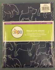 New Circo Fitted Crib Sheet Dogs Blue - White 28x52 NIB 200 Thread