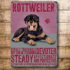 """ROTTWEILER 12""""X 8"""" METAL SIGN  WITH CHARACTER DESCRIPTIONS 30X20cm/ dogs"""