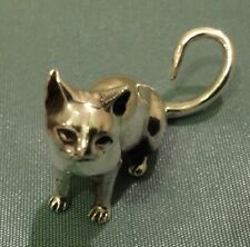 Quality Sterling Silver Miniature Sitting Cat Figure Statue Heavy 16g 3cm new
