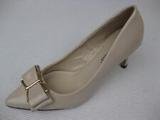 Pierre Dumas Womens Shoes NEW $48 Paris-6 Nude Patent Bow Pump 7.5 M