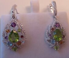 $400 NATURAL, MULTISTONE  PERIDOT,GARNET, CITRINE 14 K GOLD OVER SILVER EARRINGS