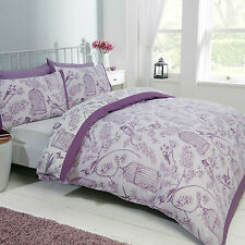 DOUBLE BED DUVET COVER SET BIRD CAGE MAUVE LILAC WHITE FLORAL REVERSIBLE BEDDING