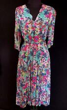 RARE  FRENCH VINTAGE 1930'S-1940'S WWII ERA FLORAL SILKY RAYON DRESS SIZE 8+