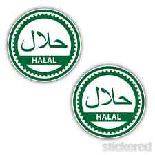 2 x GREEN HALAL SHOP WINDOW CAFE TAKE AWAY FAST FOOD BUTCHERS STICKERS 100mm