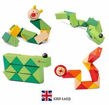 Kids Wooden TWISTY ANIMAL Fidget Fiddle Sensory Toy Autism ADHD Stress Relief UK