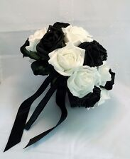 Black and White Pearl Artificial Brides Bouquet - Wedding Flowers