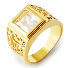 D5409 Classic  Men's Yellow Gold Filled Clear CZ Ring SZ 10#