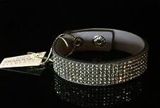 Swarovski Elements Slake Bracelet Shiny Crystal Gray Alcantara ® Leather Cuff