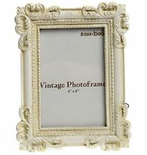 FRENCH VTG CREAM PHOTO FRAME SHABBY ORNATE CHIC RECTANGLE PORTRAIT GIFT 4 X 6