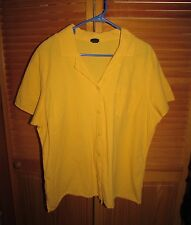 Basic Editions women short sleeve Blouse 18W? 20W? chest 50 crinkle Yellow EUC