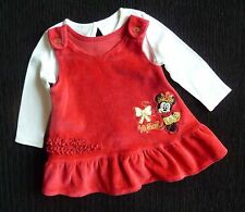 Baby clothes GIRL 0-3m Disney Minnie Mouse cherry red velour dress/white top