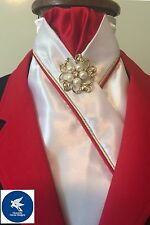 HHD White Satin Pre-tied Show Stock Tie Red & Gold Piping Free Pin